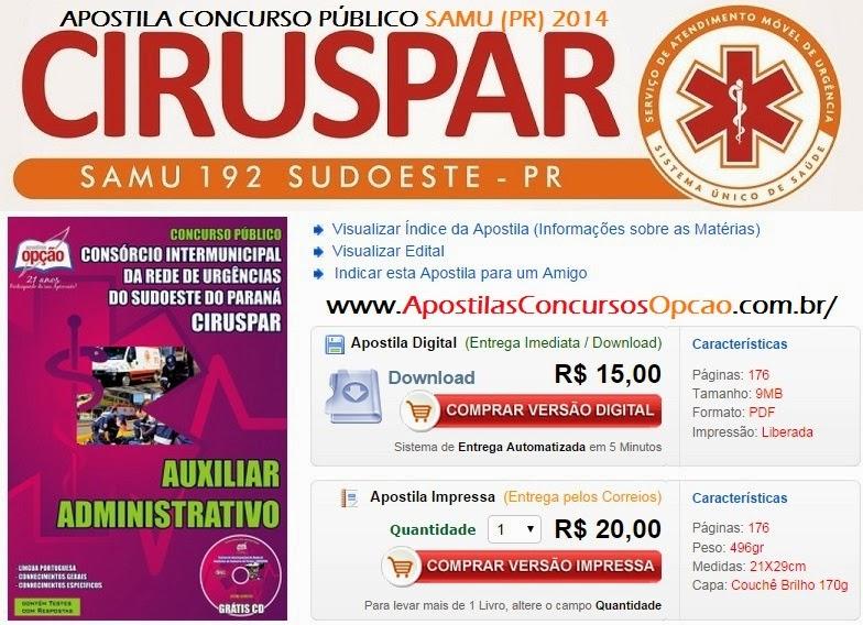 Apostila Concurso SAMU do Sudoeste do Paraná - CIRUSPAR 2014.