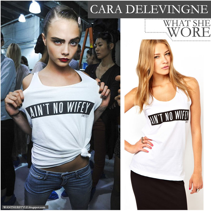 Cara Delevingne in white Ain't No Wifey top - Want Her Style