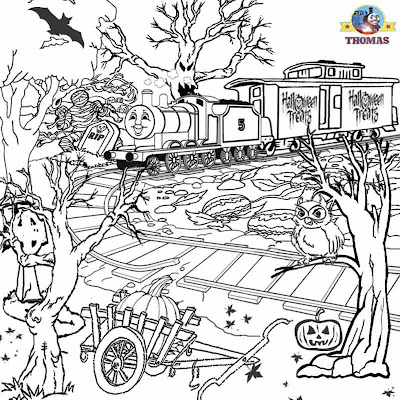 Printable Trick or treat coloring Halloween ghost train James tank tree trouble scary woods pictures