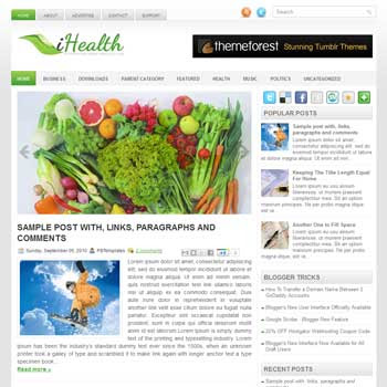 iHealth blogger template. free blogspot template magazine style