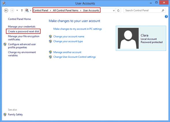 create windows 8 or 8.1 password reset disk