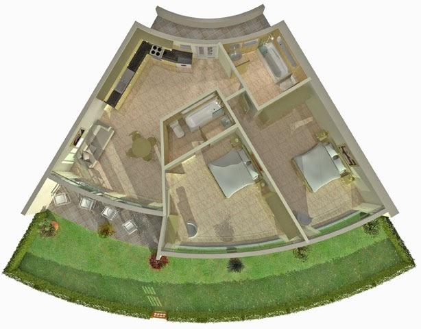 Planos de edificios circulares con departamentos trapecio for Distribucion departamentos modernos