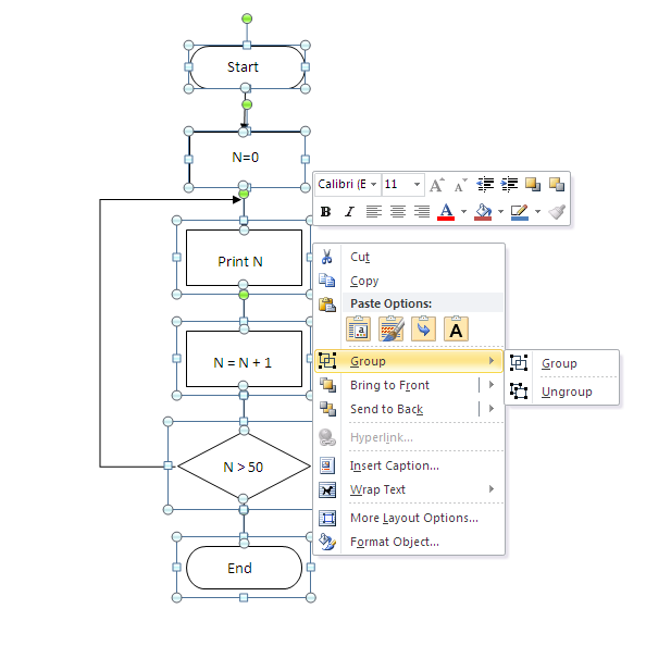 Programming Steps  How To Draw Flowchart In Word 2003