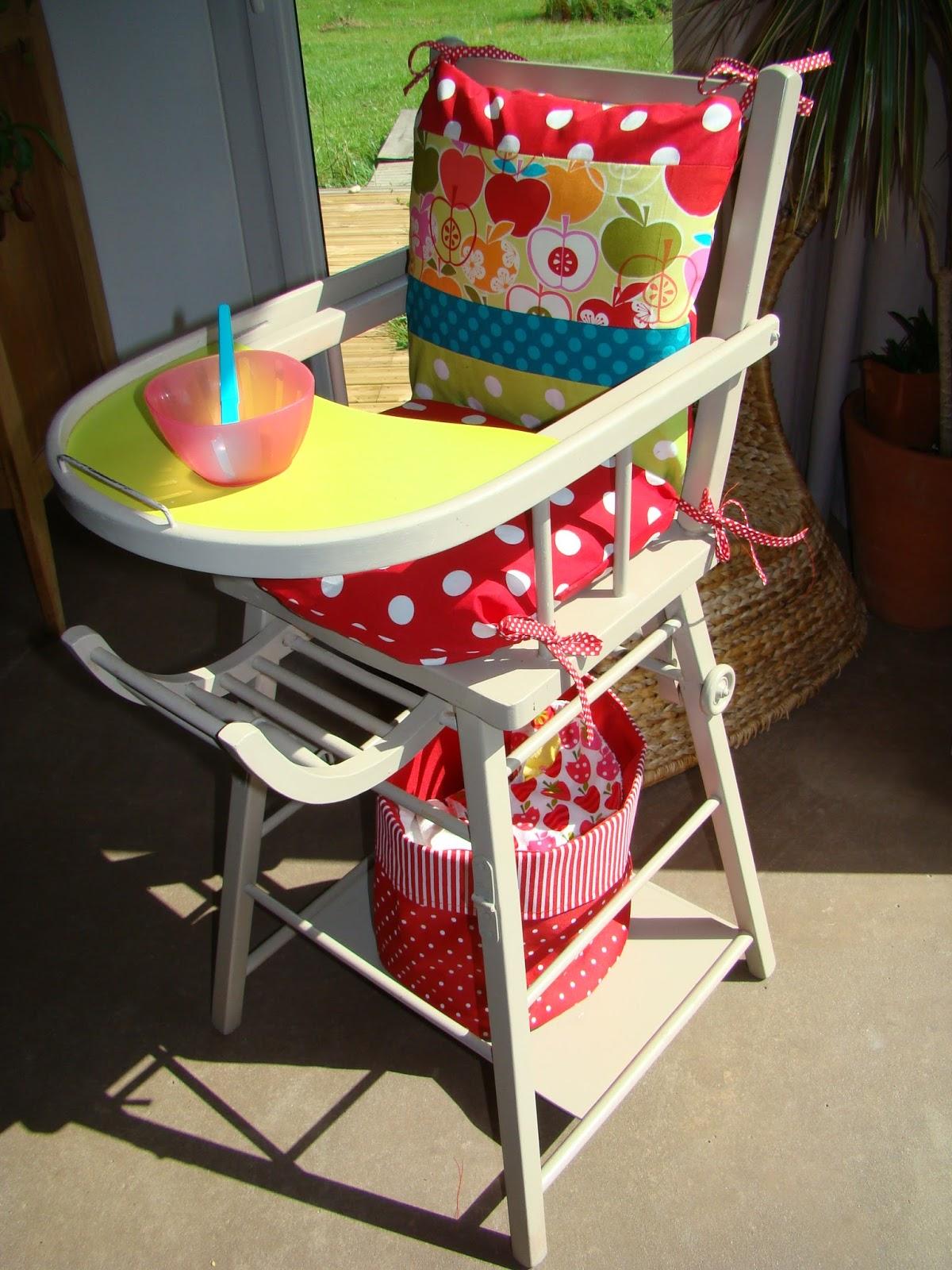 La belette bidouille relooking de ma chaise haute - Relooker une chaise en bois ...