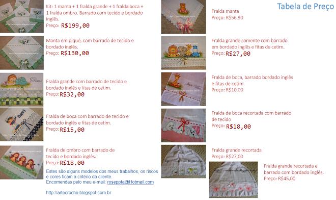 Tabela de Preço das Fraldas: