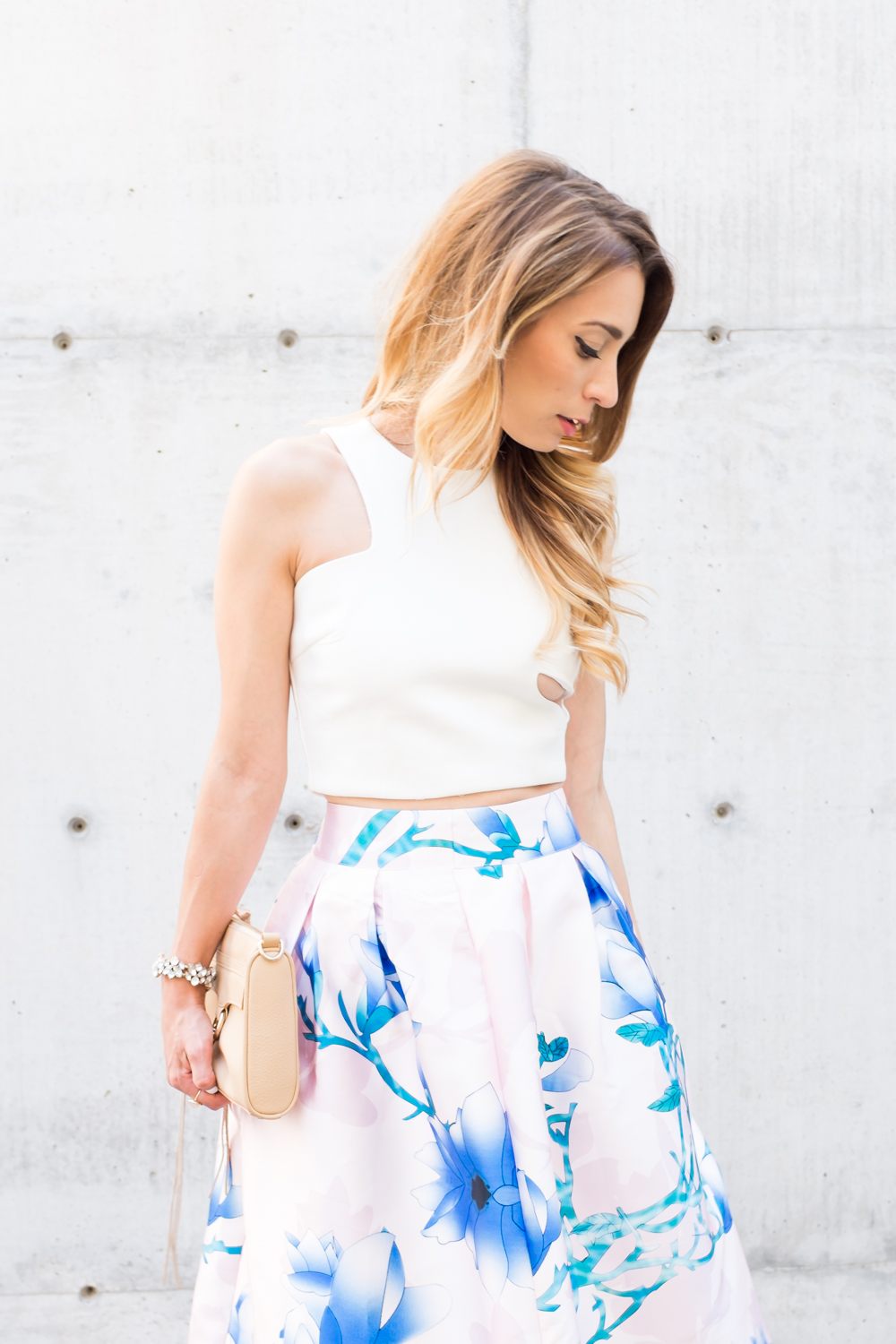 OOTD - Blush Pink Floral Midi Skirt   Crop Top | La Petite Noob ...