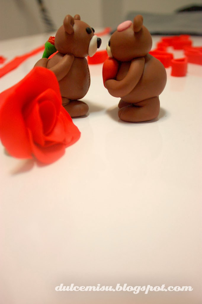 tarta, corazón, san valentin, fondant, dulcemisu, rosa, ositos