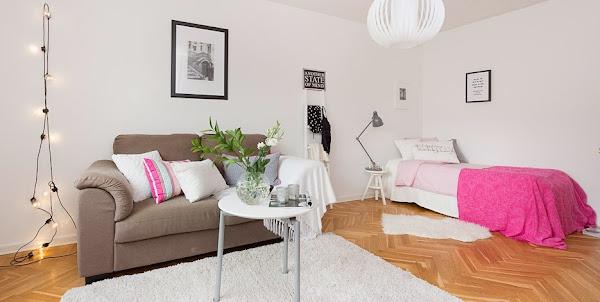 Salones en marron y blanco decorar tu casa es - Sofas marrones decoracion ...