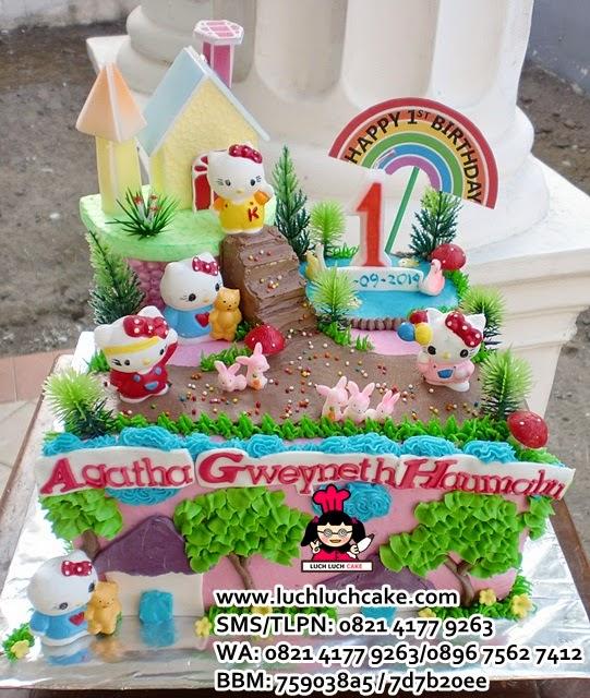 Kue Tart Hello Kitty Tema Rumah Kitty Daerah Surabaya - Sidoarjo