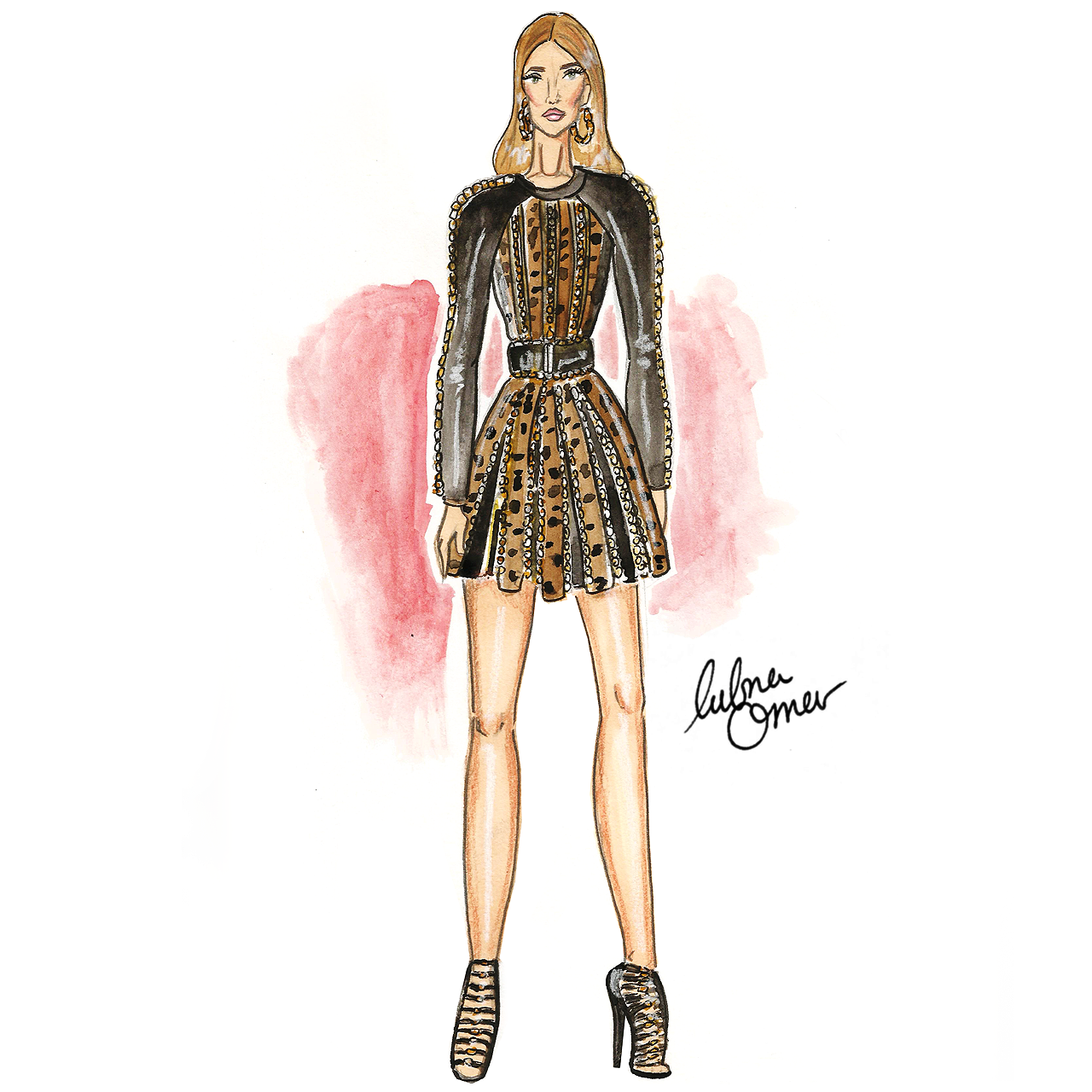 Rosie Huntington-Whiteley in Balmain illustration by Lubna Omar
