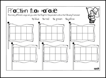 math worksheet : the best of teacher entrepreneurs iii free math lesson  : Fraction Flags Worksheet