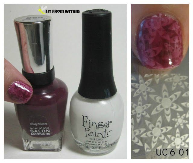 What I used:  Sally Hansen Salon Violet Glass, Finger Paints Paper Mache and Uber Chic plate 6-01.
