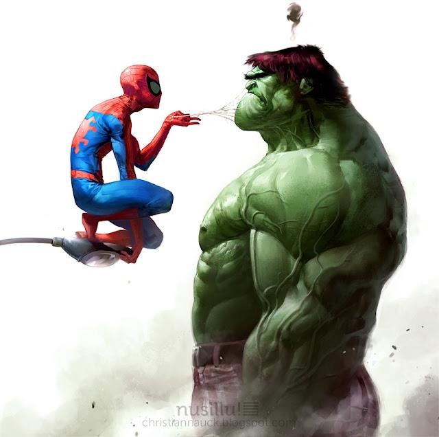 Spidey vs. Hulk por Manarama