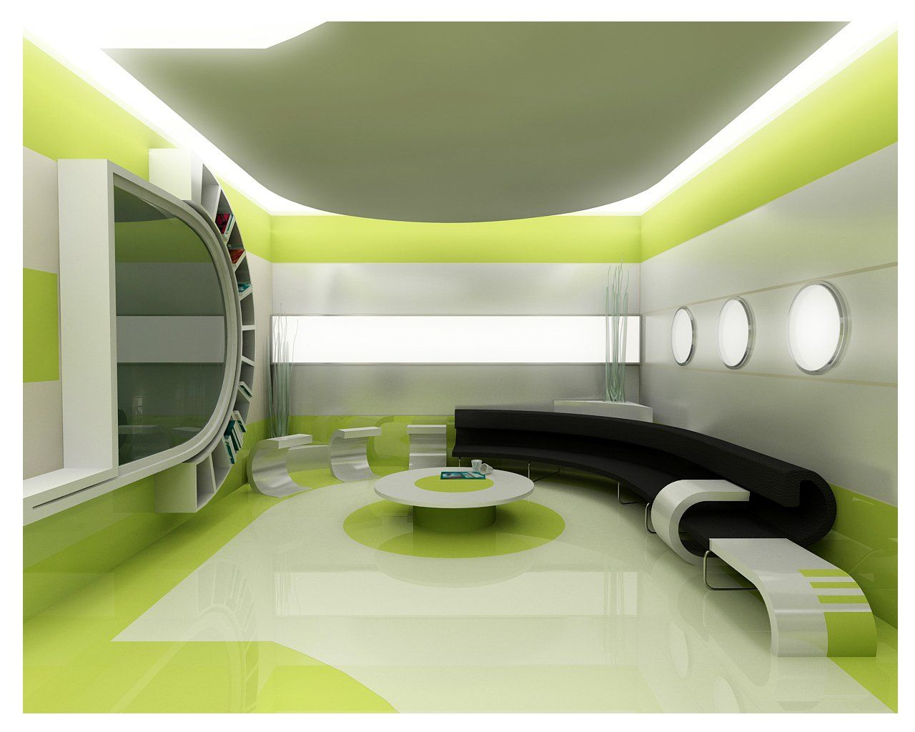 Green Living Room Interior Design