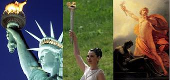 Estátua da Liberdade, a Tocha Olímpica e o Fogo de Prometeu