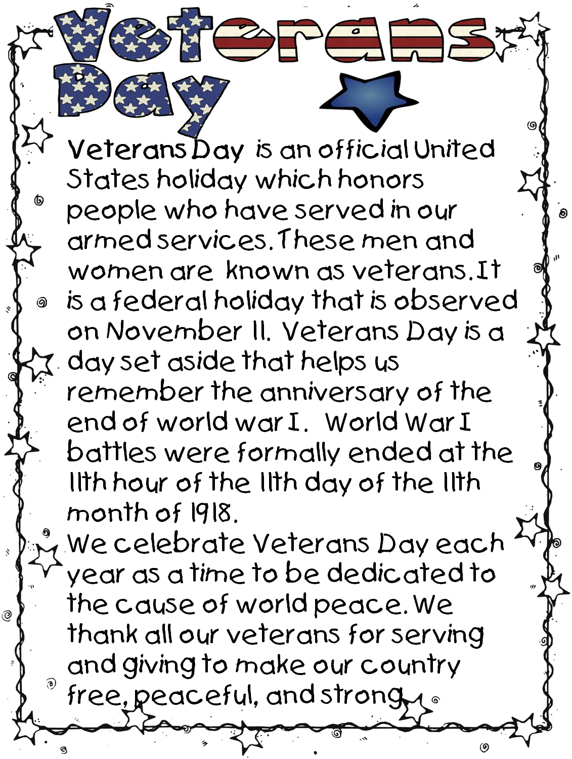 Happy Veterans Day Poems Printable