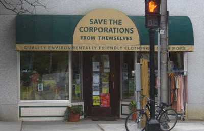 Storefront with awning labeled Save the Corporations from Themselves
