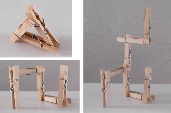 clothes pins, crafts, architecture, kids, 3d art, 3d forms, structures,