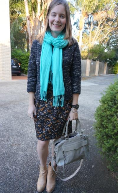 turquoise pashmina printed FCUK sheath dress tweed blazer ankle boots