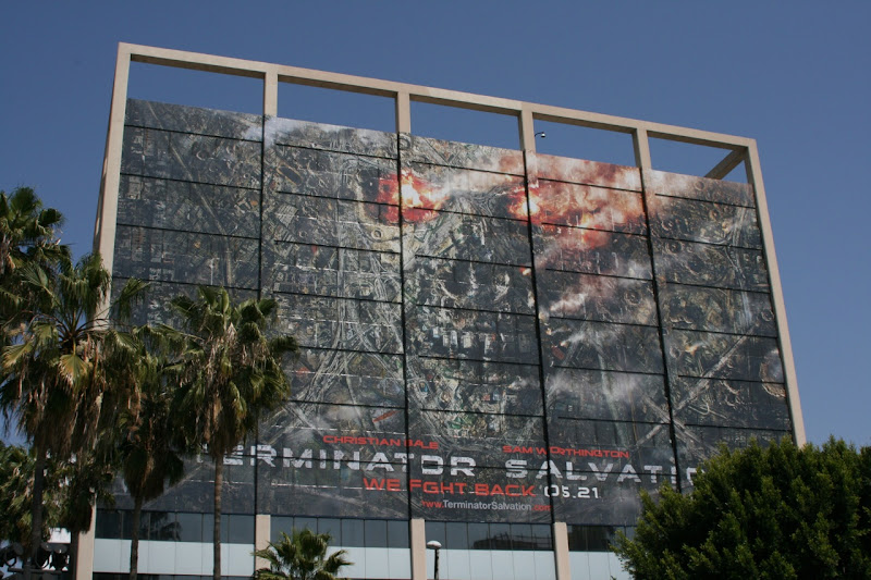 Terminator Salvation cityscape skull billboard