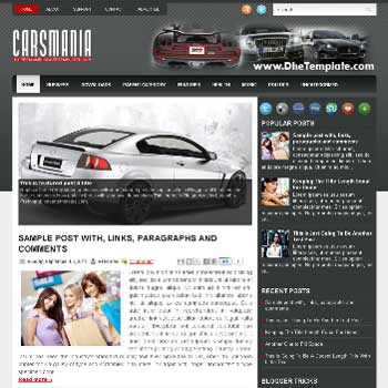 CarsMania blog template. template image slider blog. magazine blogger template style. blogger template for car blog