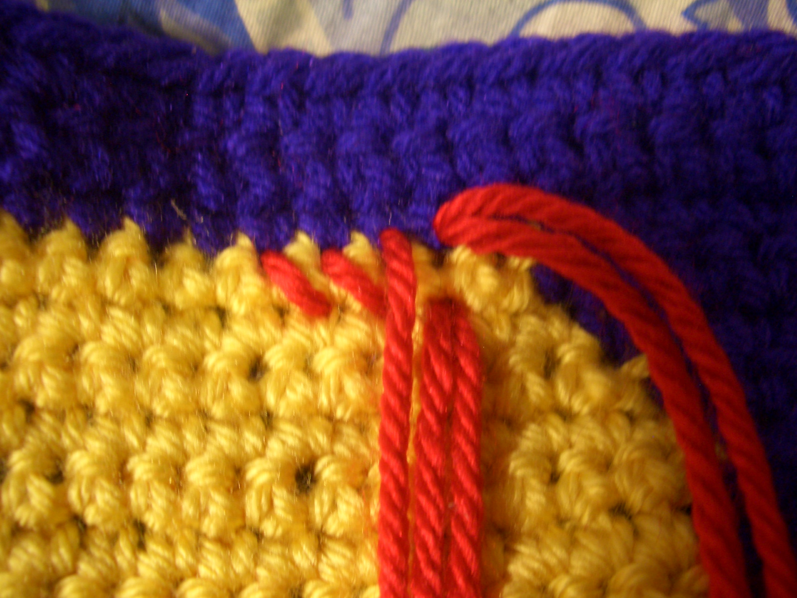 are making diagonal stitches, continue making the diagonal stitches ...