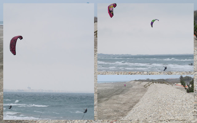 Kite surfers in Languedoc, France