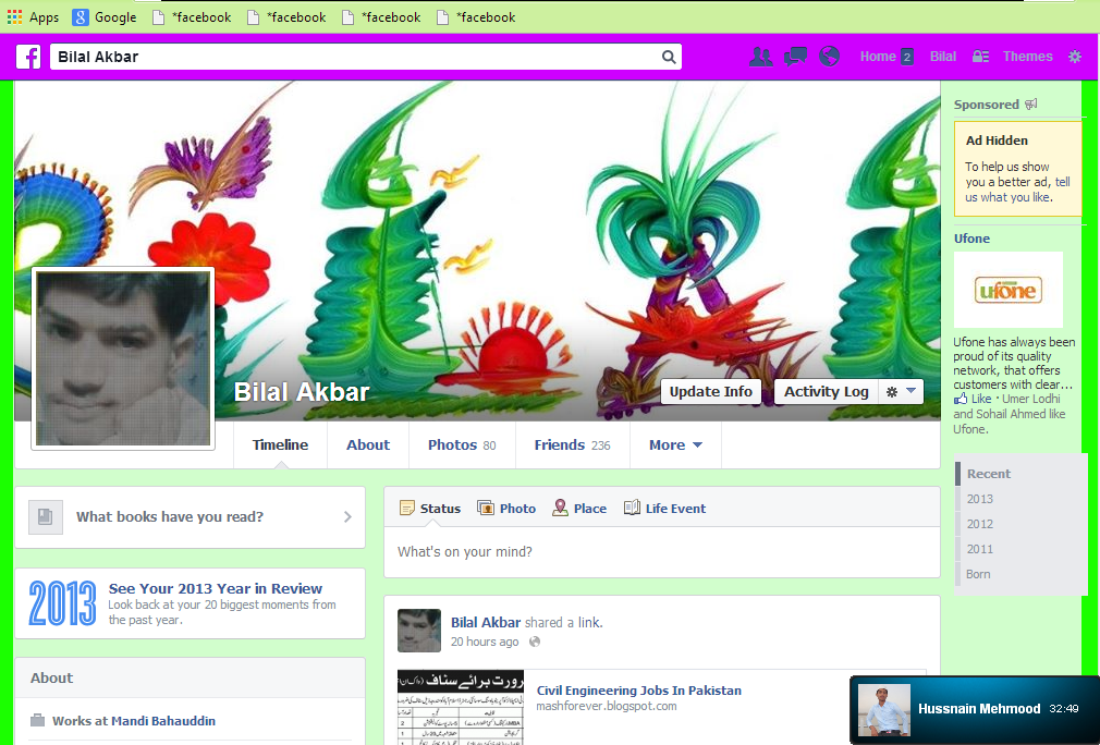 how to change facebook background color and style