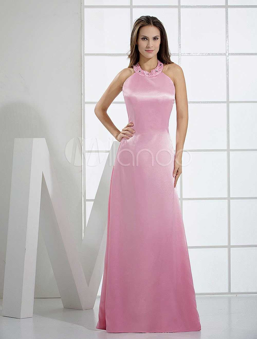 China Wholesale Dresses - Pink Halter Floor Length A-line Elastic Woven Satin Bridesmaid Dresses