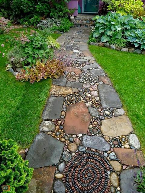 Stone Mosaic Garden Path