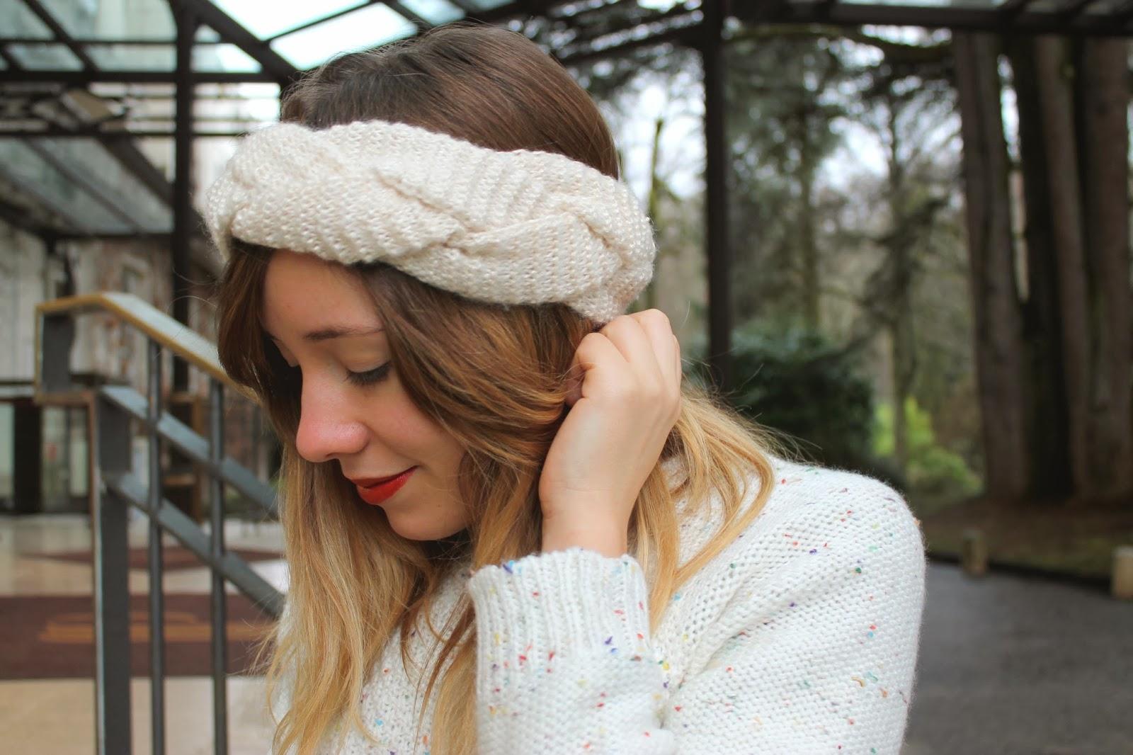 Headband laine tresse beige