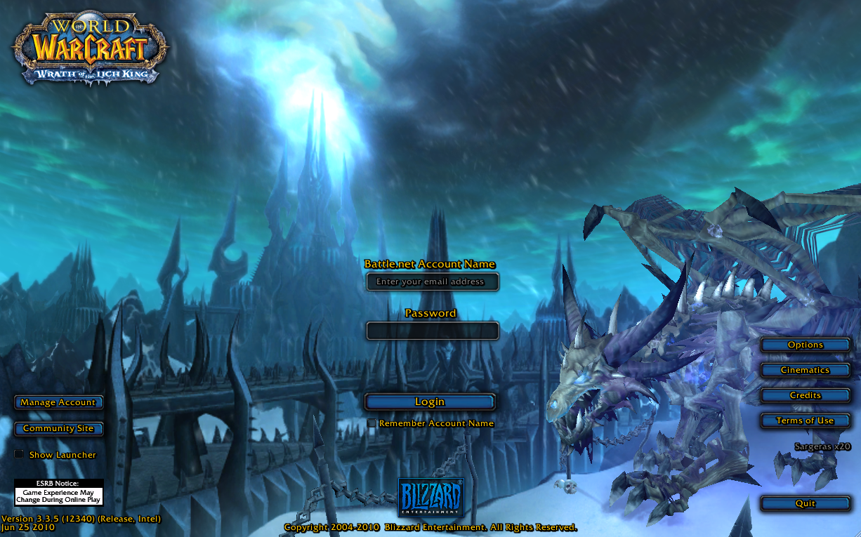 10. World of Warcraft login screen, during the. Wrath of the Lich King (&#
