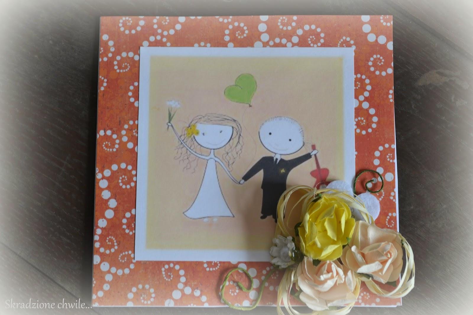 Kartka ślubna w kolorach pomarańczy…