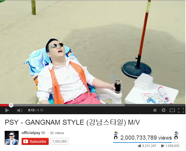 Video Gangnam Style Mencapai 2 Billion Tontonan