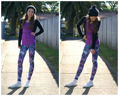 Winter Activewear Must Haves - From Gym to Coffee Shop Look  Kaleidoscope Leggings, Havaianas Sneakers, Cardigan, Beanie, Striiv Fusion