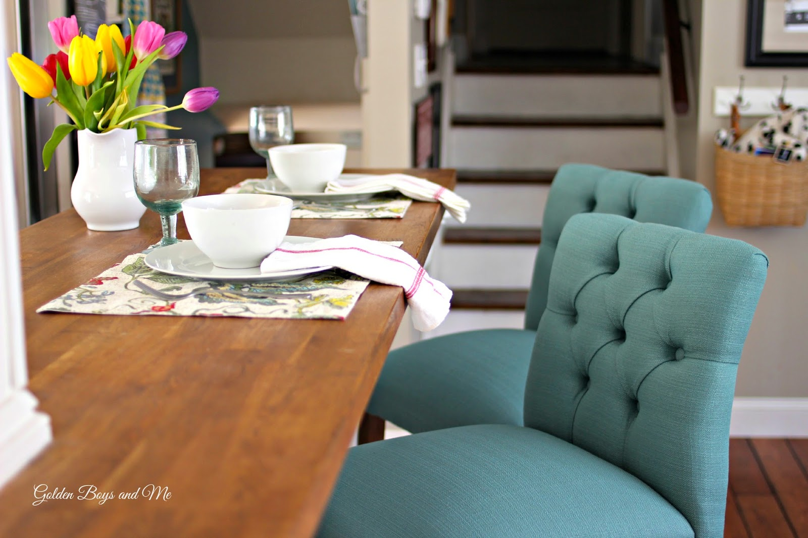Target threshold bar stools in kitchen at butcher block island-www.goldenboysandme.com