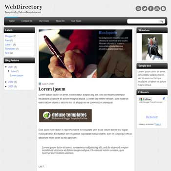 Web Directory blogger template. personal template blog