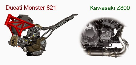 engine ducati monster 821 vs kawasaki z800