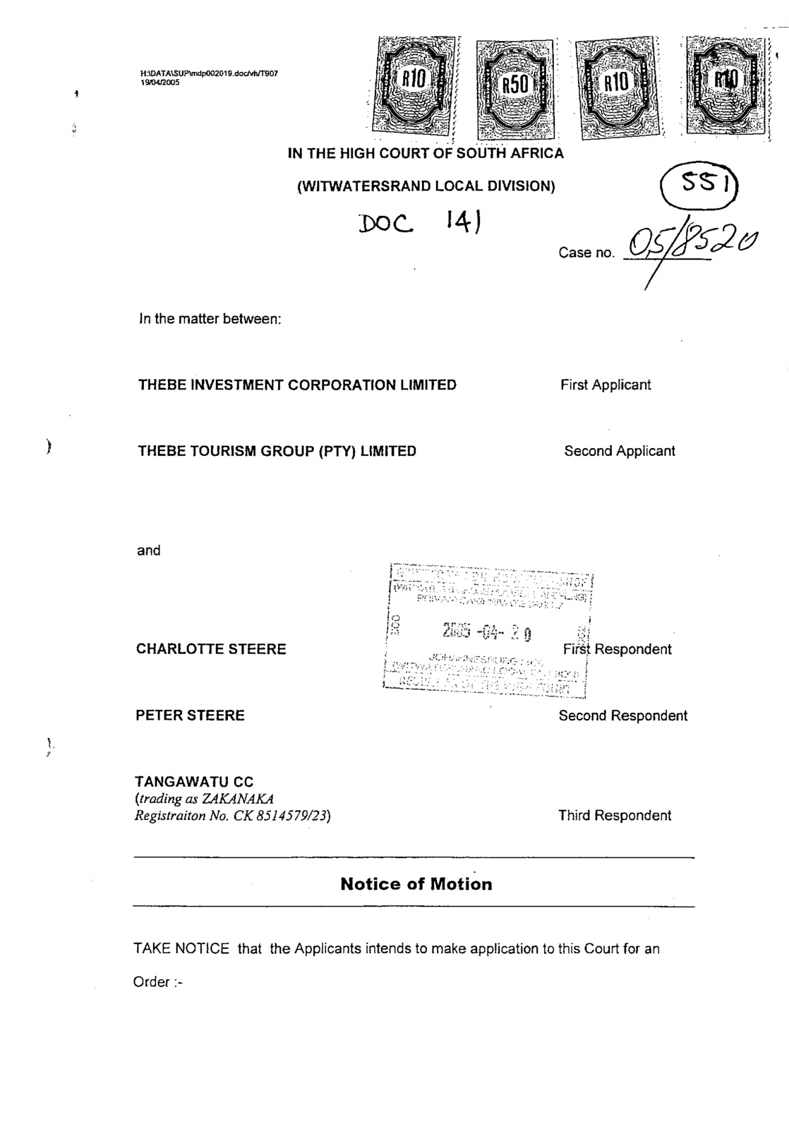 Front Pages Of Thebe Group Affidavits Signed Financial