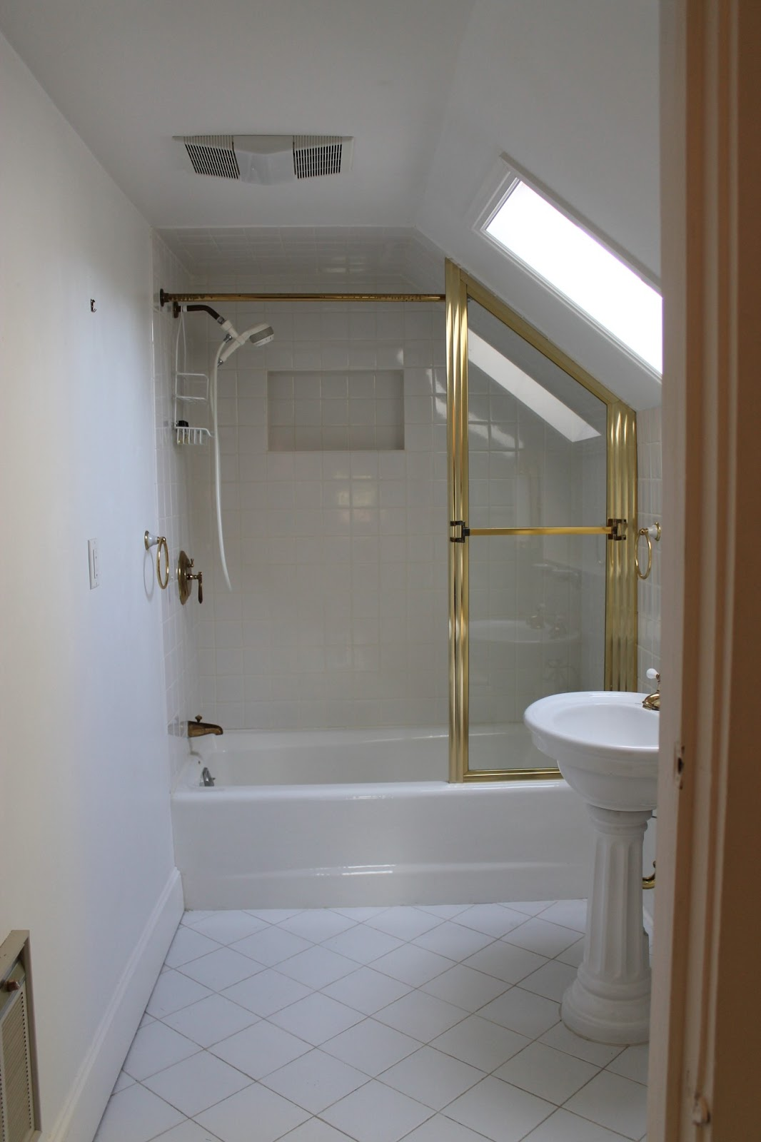 the picket fence projects: Goodbye gold shower door...