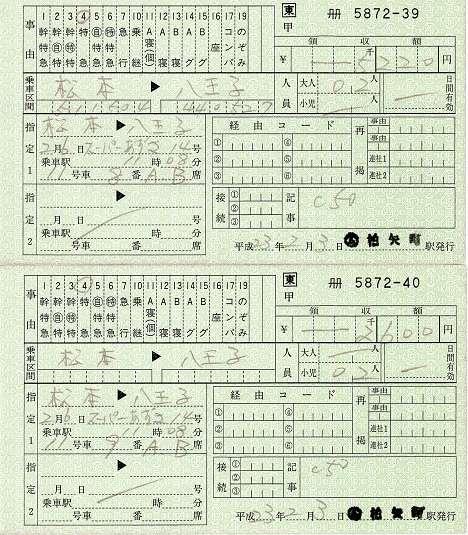 JR東日本 料金専用補充券 2人で1枚 柏矢町駅