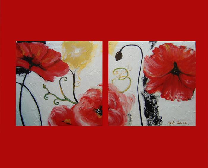 Cuadros abstractos flores modernas dipticos tripticos for Imagenes de cuadros abstractos geometricos