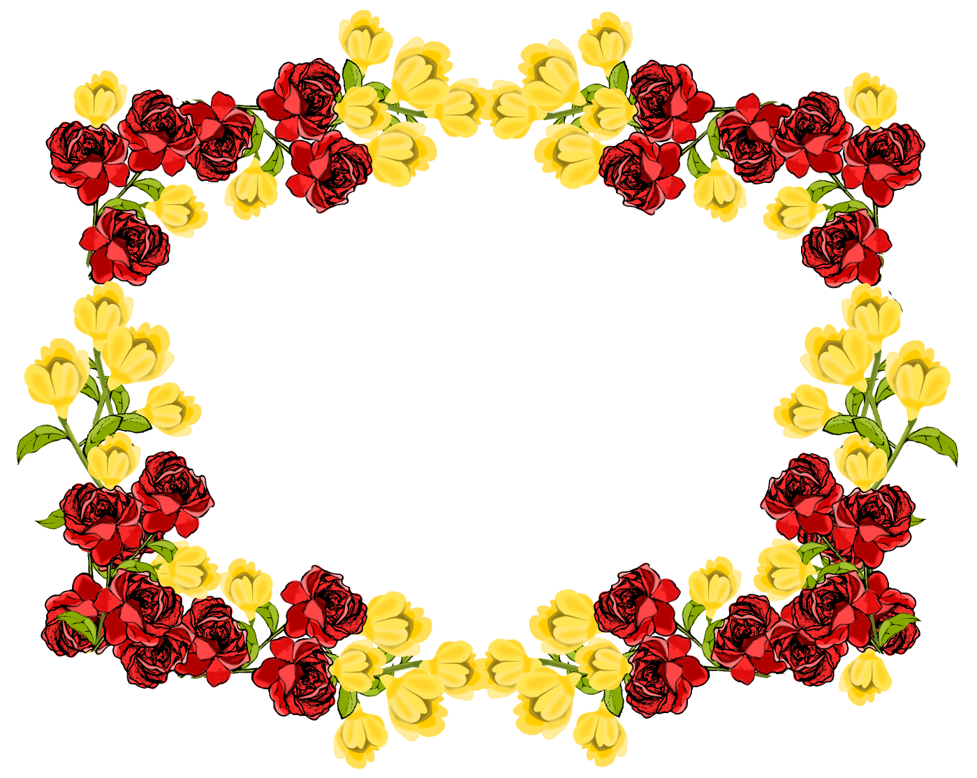 free red and yellow flower frame png – Rosenrahmen – freebie