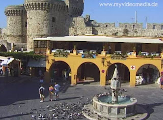 Platia Ippokratu in the old town of Rhodes - Greece