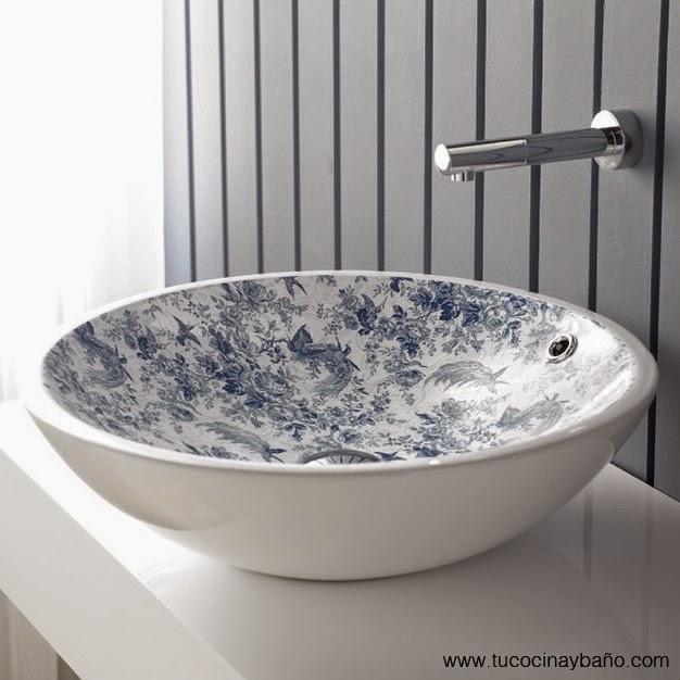 lavabo porcelana vintage Toile de Jouy