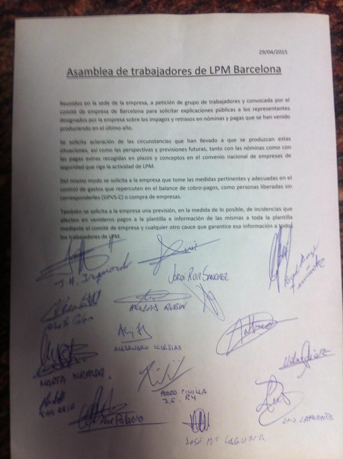 COMITE LPM BARCELONA: abril 2015