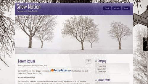 Snow Motion - Free Blogger Template