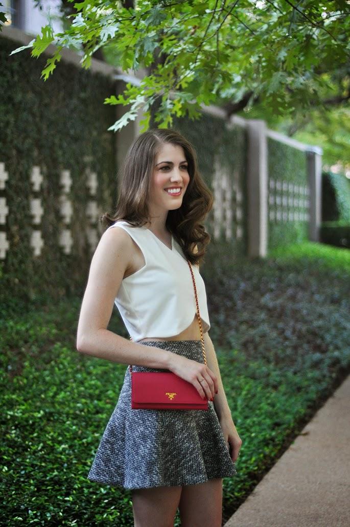 Loft tweed floppy skirt