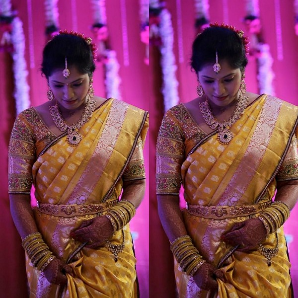 Bride in Glitter Blouse Mustard Sari