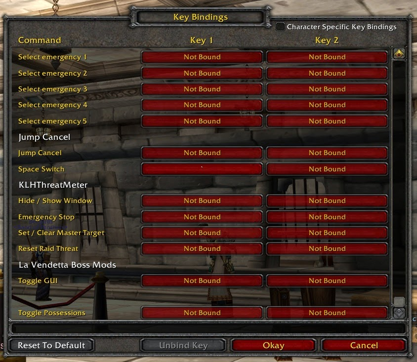 Key Bindings in MMORPGs